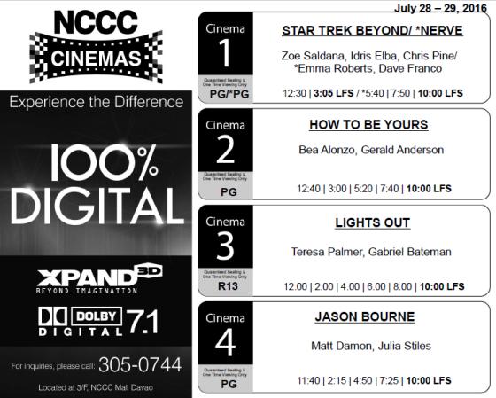 nccc mall davao cinema schedule jul 28 2016