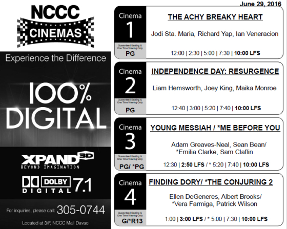 nccc mall davao cinema schedule jun 29 2016