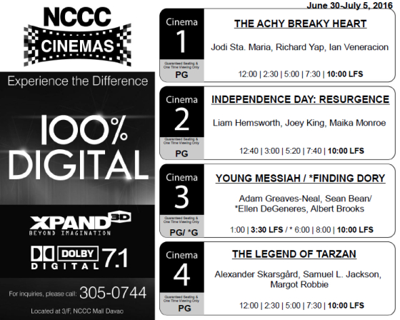 nccc mall davao cinema schedule jun 30 2016
