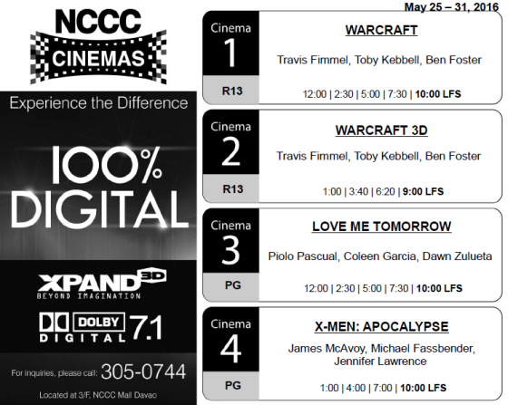 nccc mall davao cinema schedule may 25 2016
