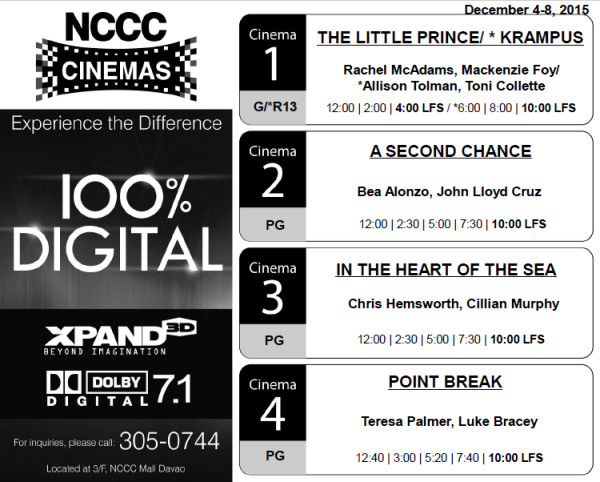 nccc mall davao movie schedule dec 4 2015