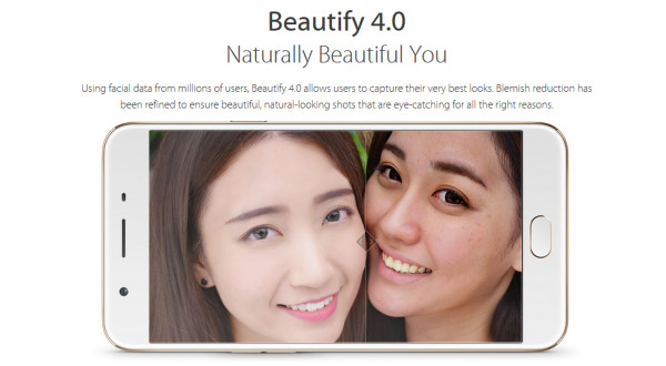 OPPO F1s built-in app Beautify 4.0 creates beautiful selfies.