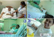 "1 - Nurse injects antibiotics to Chito before appendectomy | 2 - Chito lies flat on his back right after appendectomy | 3 - Chito makes the ""selfless"" post (looking up and holding a V-sign) a day after appendectomy 