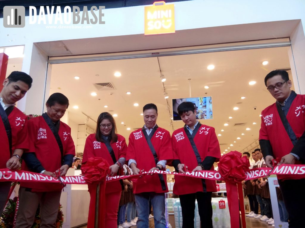 ribbon cutting ceremony at the opening of Miniso in SM City Davao