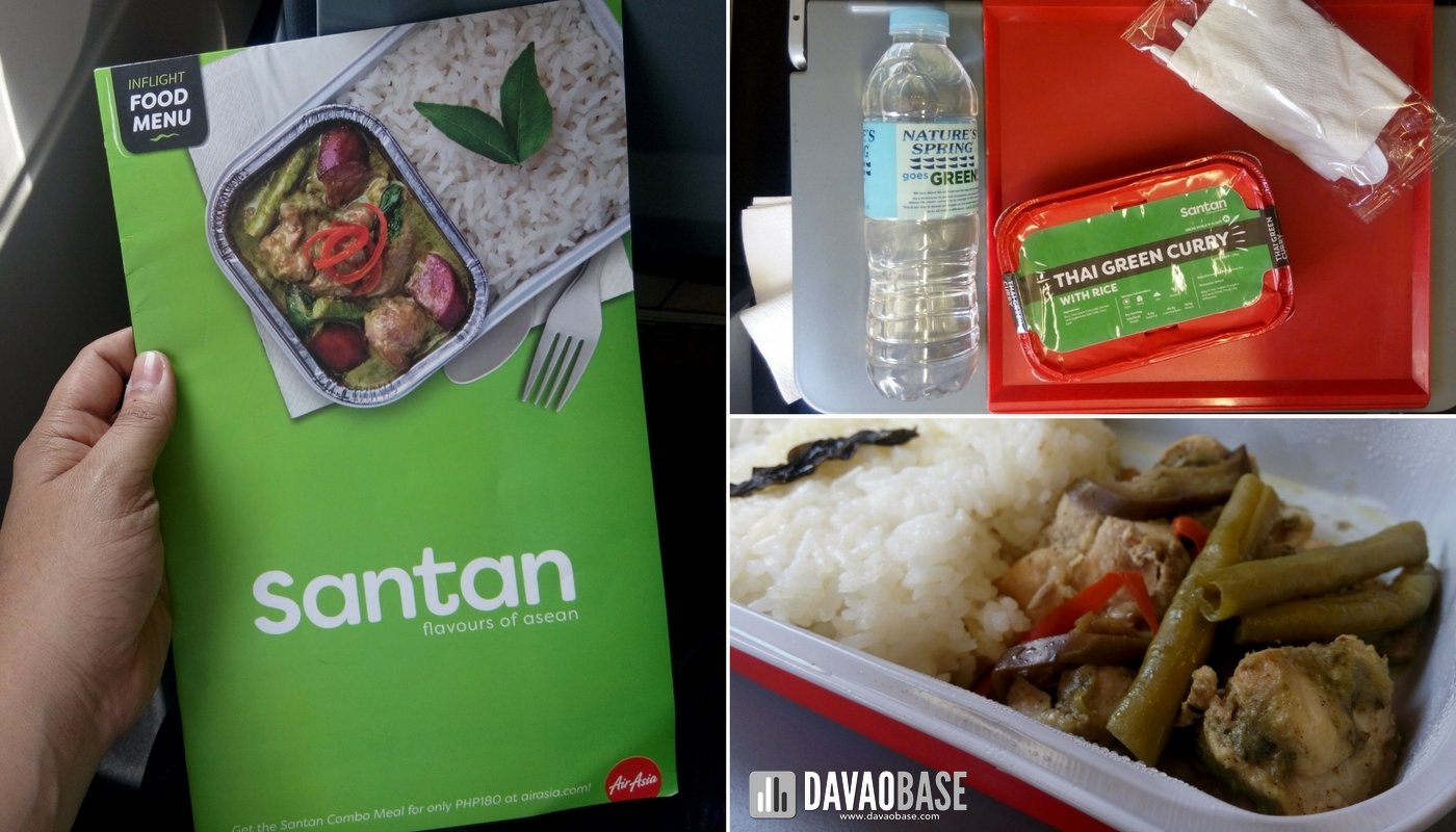 santan inflight food choices airasia pre-booked onboard meals