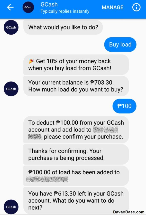 screenshot_buy load via GCash in Messenger