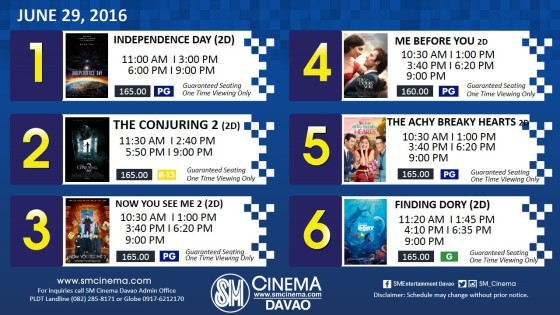 sm city davao cinema schedule jun 29 2016