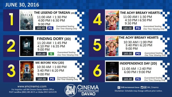 sm city davao cinema schedule jun 30 2016
