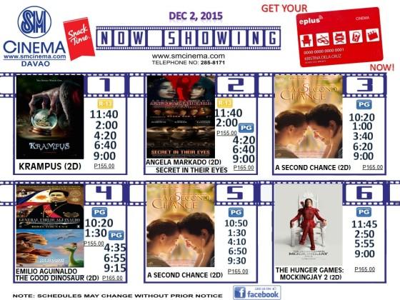 sm city davao cinemal schedule dec 2 2015