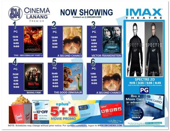 sm lanang premier movie schedule nov 25 2015