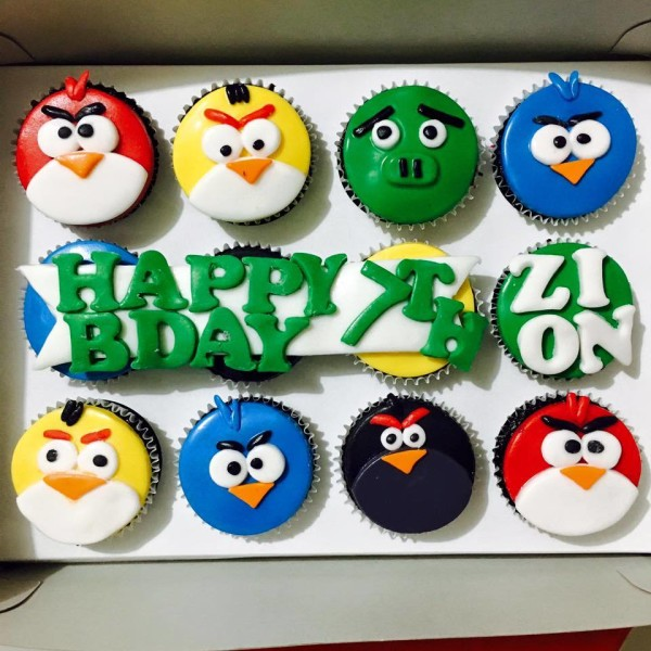 sweet perfections angry birds themed cupcakes