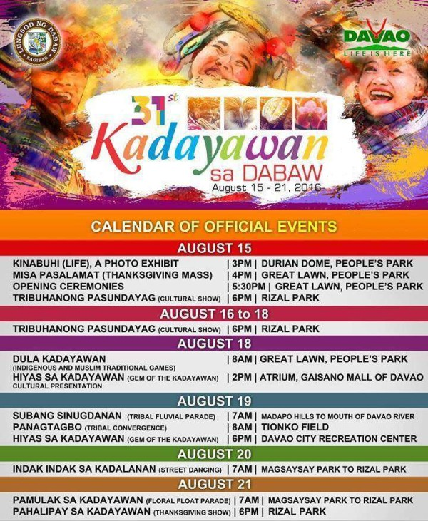 updated Kadayawan schedule