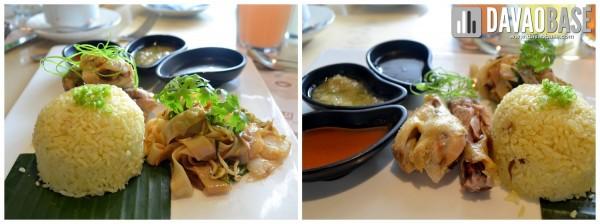 Hainanese Chicken Rice with Kuey Teow (stir-fried ricecake strips)
